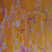 SYLVIA McEWAN_FOUR FIGURES (ORANGE)_59x84cm_oil on paper_2 panels