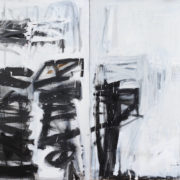 BLACK AND WHITE MARK MAKING WITH PINK EDGE (diptych)_122X304cm_oil on linen