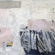 SYLVIA McEWAN_BLACK FIELD WITH GREY AND PINK_2014_91x183cm_oil on linen SOLD