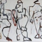 SYLVIA McEWAN_original preliminary sketch for THE THREE GRACES SERIES #1 (diptych)_59.5x70cm_mixed media on paper