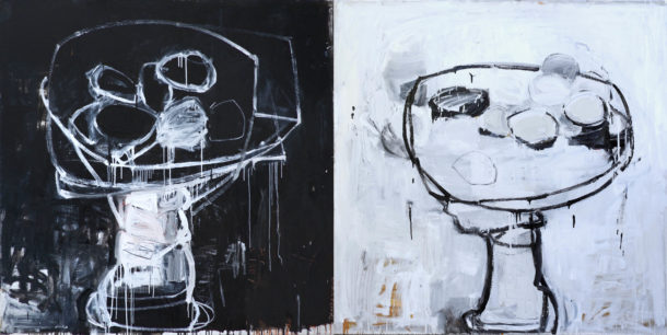 STILL LIFE AGAIN-BLACK AND WHITE (diptych)_120x240cm_oil on linen