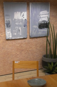 2 smaller works on canvas, looking great among the gorgeous furniture and homewares at Koskela, voted best retail space Australia