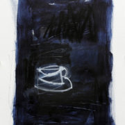 SYLVIA McEWAN_ BLUE ABSTRACT WITH CUP no 3_60x42cm_mixed media on paper
